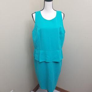 LOFT Size 18 Teal/Turquoise Peplum Dress Zipper